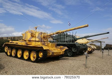 British made Charioteer lightweight tank captured by IDF in Southern Lebanon on display