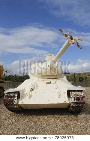 Russian made T-34-85 tank with broken gun barrel captured by IDF form Egypt on display