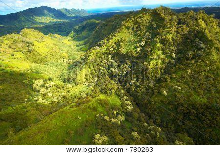Aerial view Kauai hills