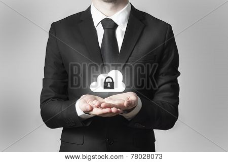 Businessman Serving Gesture Cloud Security Symbol