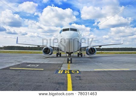 The plane on a runway