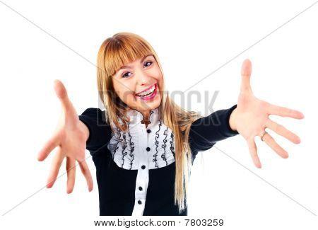 Businesswoamn Stretching Hands To Us