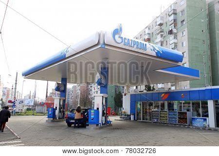 ARAD, ROMANIA - FRIDAY, DECEMBER 5, 2014: A Gazprom petrol station. The station is operated by NIS, a Gazprom Neft subsidiary (Naftna Industrija Srbije)