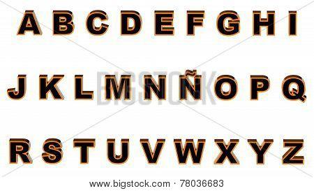 Alphabet Orange And Black
