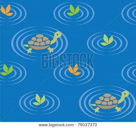 Seamless Pattern With Funny Swiming Turtles