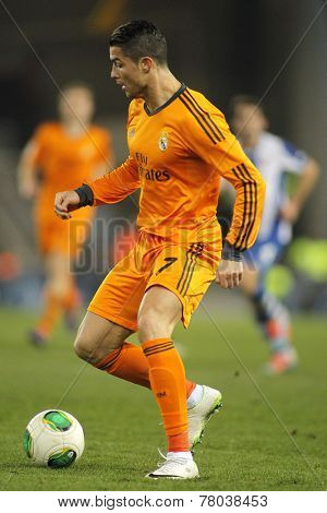 BARCELONA - JAN, 21: Cristiano Ronaldo of Real Madrid during the Spanish Kings Cup match between Espanyol and Real Madrid at the Estadi Cornella on January 21, 2014 in Barcelona, Spain