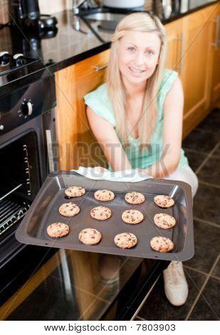 Happy Housewife Preparing Cookies