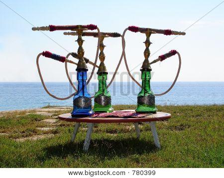 Hookahs On Small Table