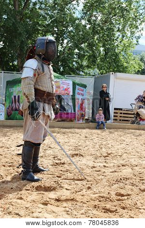 Perm, Russia - June 25, 2014: One Fencer With A Sword In His Hand On Sand At Festival White Nights