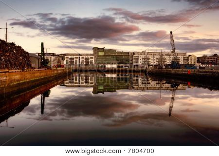 Morning Vew On Row Of Buildings And Industrial Area At Galway Dock