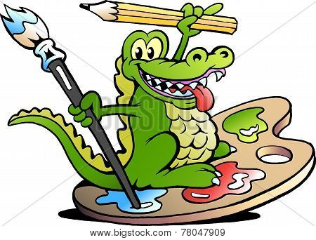 Hand-drawn Vector Illustration Of An Happy Creative Artist Crocodile
