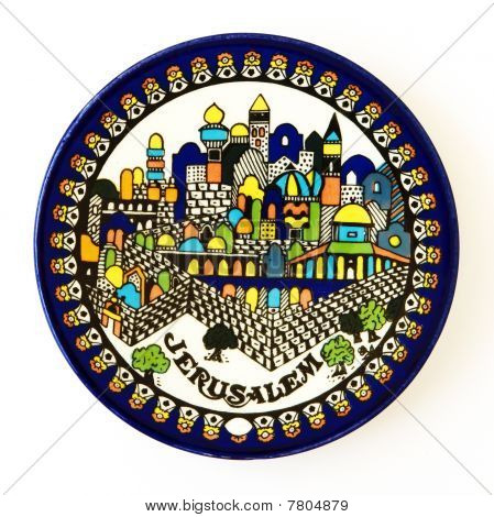 Jerusalem Ceramic Souvenir Dish On White