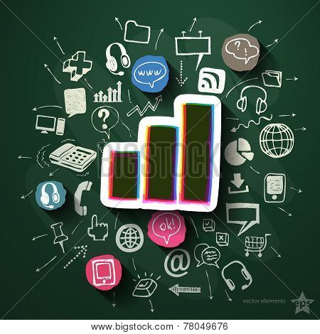 Business collage with icons on blackboard