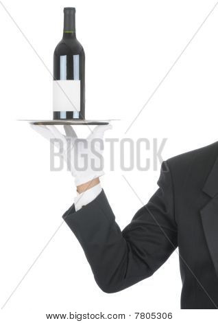 Butler With Wine Bottle On Tray