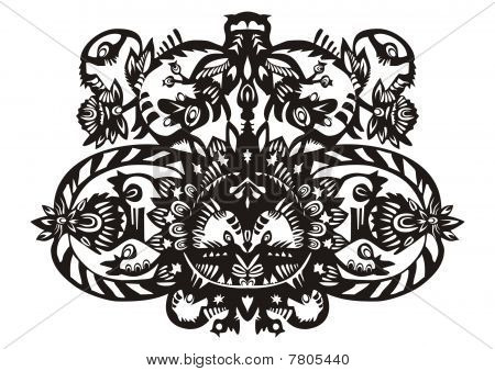 plant decorative black pattern