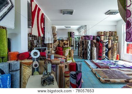 Colorful Carpets In The Store