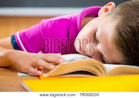 Tired Schoolboy Sleeping On Book