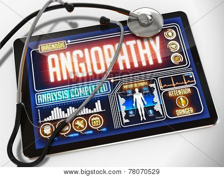 Angiopathy on the Display of Medical Tablet.