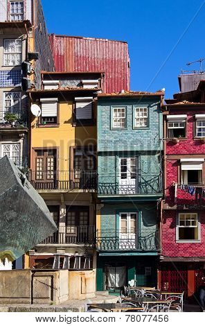 Facades Of Houses In Old Town, Porto, Portugal