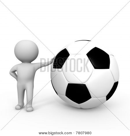Human leaning upon a soccer ball - a 3d image