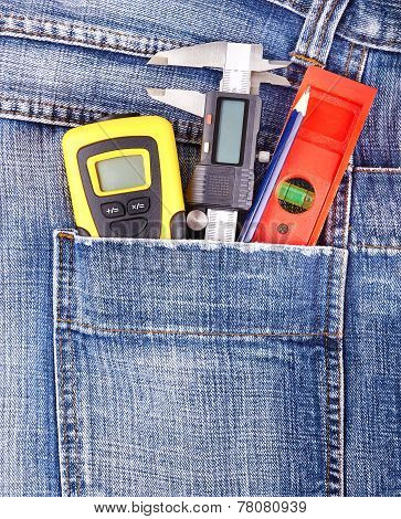 Construction Tools In Jeans Pocket