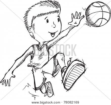 Basketball Player Vector Sketch Illustration Art