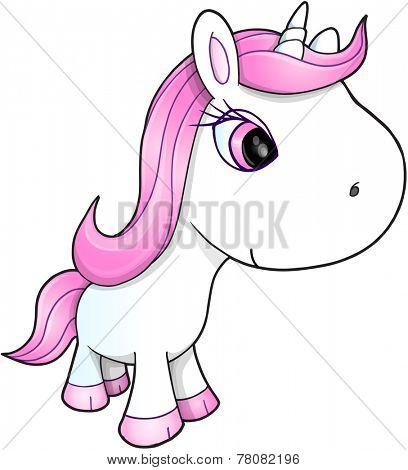 Cute Happy Unicorn Vector Illustration Art