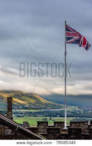 Union Jack Flying Over Stirling Landscape