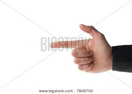 Male Hand Making A Gun Sign On White