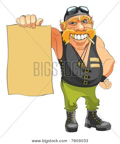 Biker holds in hand a blank sheet of paper