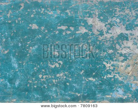 Worn Blue Painted Wall With Paint Chip Crack And Blathering