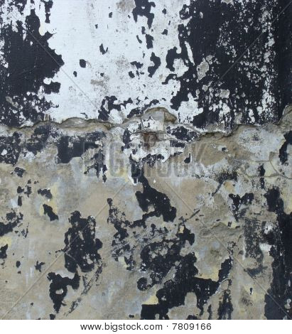 Worn Gray Black Painted Wall With Paint Chip Crack And Blathering