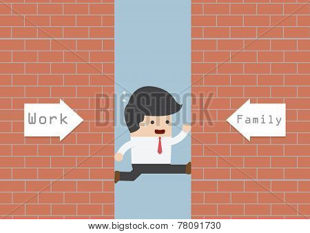 Businessman Being Squeezed By Job And Family