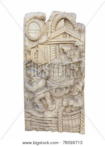 Wooden Bas-relief With Wine Making Rural Scenes Isolated On White Background