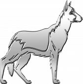 3-D Chrome Illustration of German Shepherd dog profile. poster