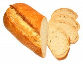 Fresh crusty sourdough bloomer bread loaf isolated on a white background poster