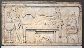 Stele with banquet scene