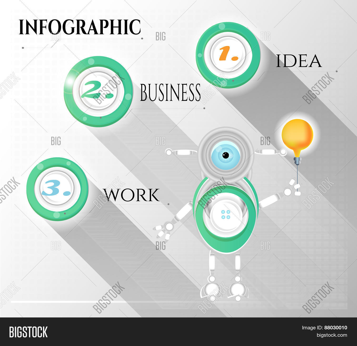 Modern Abstract Vector Photo Free Trial Bigstock Idea Infographic With Light Bulb Template For Creative Diagram Numbers Text Robot Design