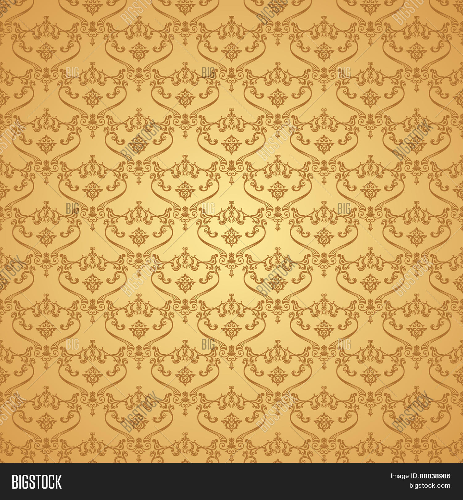 Seamless Vintage Background Calligraphic Pattern Royal Elegant Ornament Gold Wallpaper