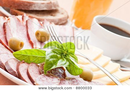 Closeup Of Served Breakfast