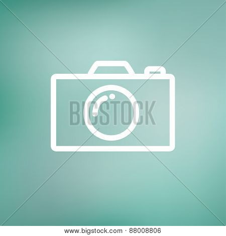 Camera icon thin line for web and mobile, modern minimalistic flat design. Vector white icon on gradient  mesh background.