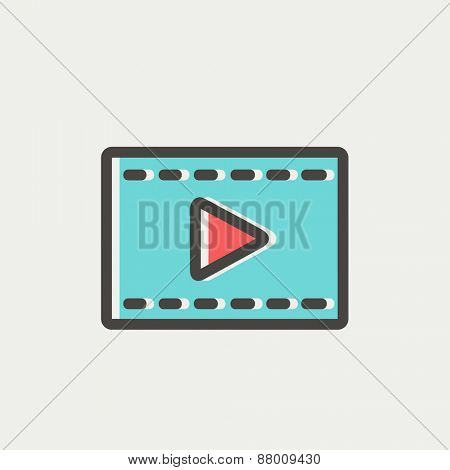 Filmstrip icon thin line for web and mobile, modern minimalistic flat design. Vector icon with dark grey outline and offset colour on light grey background.