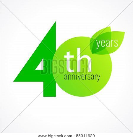 40 years old celebrating green leaves logo. Anniversary year of 40 th vector template. Birthday greetings celebrates. Environmental protection, natural products jubilee ages. Letter O with leaf.