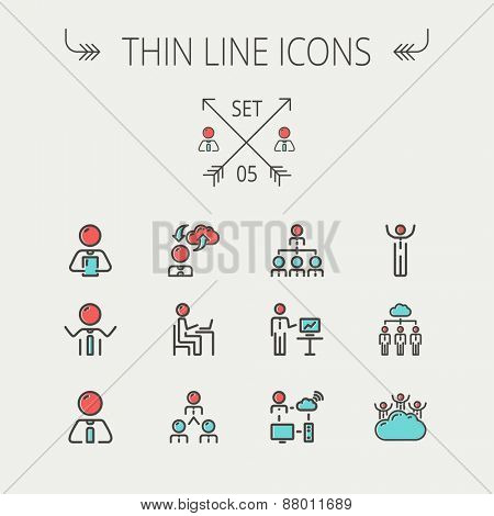Business thin line icon set for web and mobile. Set includes- laptop, tablet, computer, globe, Businessmen, men, cloud. Modern minimalistic flat design. Vector icon with dark grey outline and offset