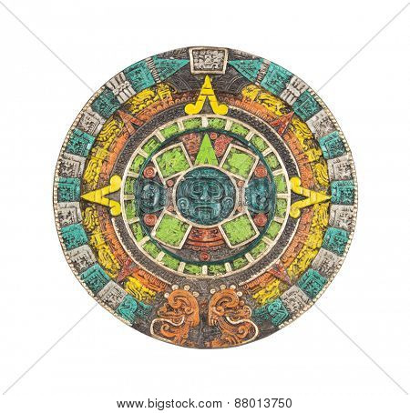 Mayan calendar. Ancient religious symbol in Mexico isolated on white with clipping path.