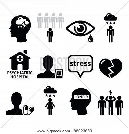 Vector icons set - mental health isolated on white poster