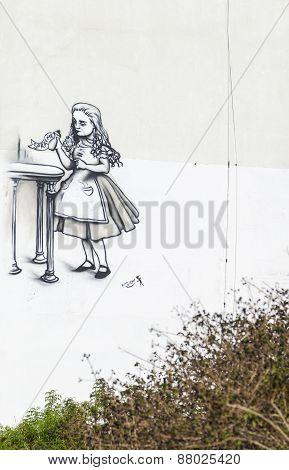 Street Art (graffiti) By Kis-lev Near Neve Tsedek. Tel Aviv, Israel.