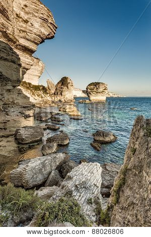 White Cliffs, Stacks And Mediterranean At Bonifacio In Corsica