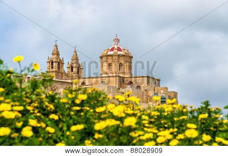 View of the Cathedral of St. Paul in Mdina - Malta poster