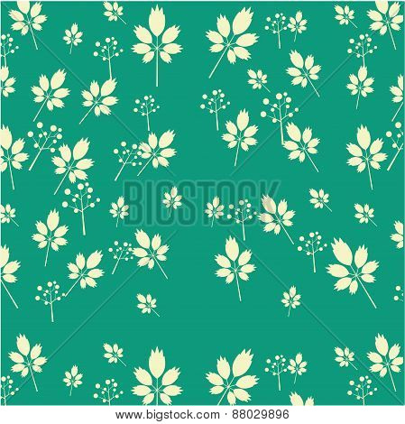 Vintage seamless pattern with white leaves and flowers, green background, retro design